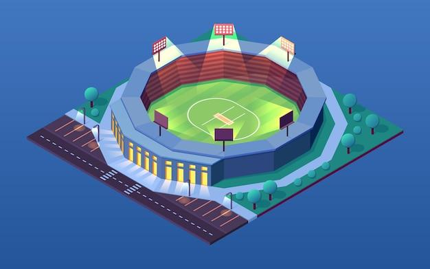 Nocny widok na stadion do krykieta lub budynek izometryczny na oświetloną arenę imprez sportowych krykieta
