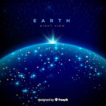 Nocny widok planety ziemi z realistycznym projektem