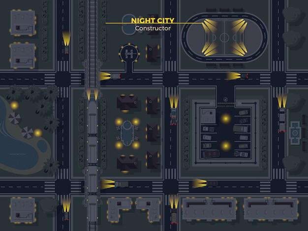 Nocny widok z góry miasta