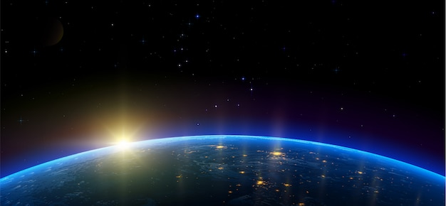 Nocny widok ziemi z satelity na świecące światła miast na wschodzie słońca ze wschodu. przestrzeń kosmiczna. realistyczna ilustracja.