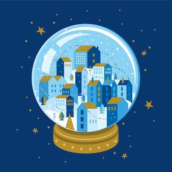 Nocny zimowy krajobraz miasta wewnątrz szklanej kuli boże narodzenie. xmas snowball z drzewami i domem w geometrycznym stylu