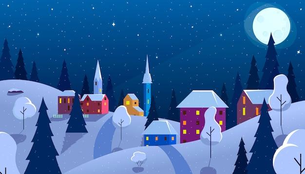 Nocny zimowy krajobraz w stylu płaski
