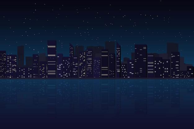 Nocy miasta linii horyzontu tło, megapolis, sylwetka, ilustracja z architekturą