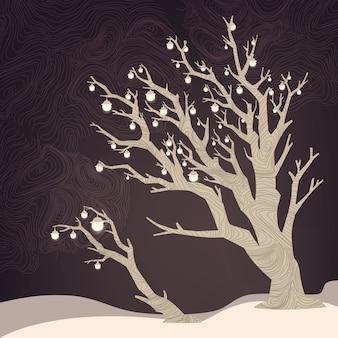 Nocy tło z drzewem i lampami na nim.