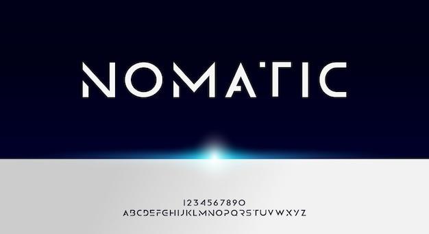 Nomatic, odważna i ostra futurystyczna czcionka alfabetu z motywem technologicznym. nowoczesny minimalistyczny projekt typografii