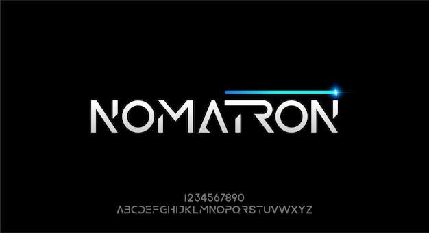 Nomatron, futurystyczna czcionka alfabetu abstrakcyjnej technologii. krój pisma w przestrzeni cyfrowej