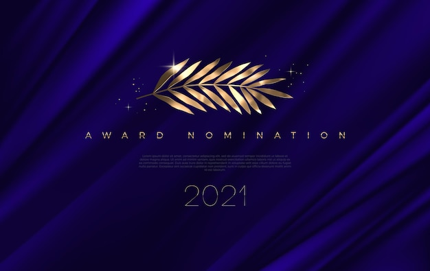 Nominacja do nagrody - szablon projektu. złote liście na głębokim niebieskim tle tkaniny.