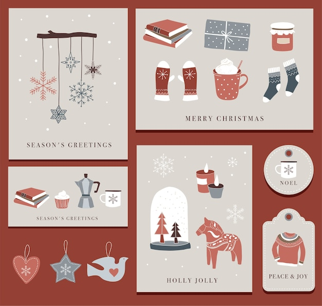 Nordic, scandinavian winter elements and hygge concept, merry christmas card, banner, background, hand drawn