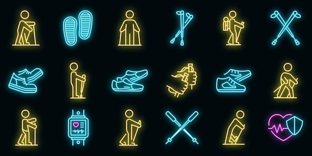 Nordic walking zestaw ikon wektorowych neon