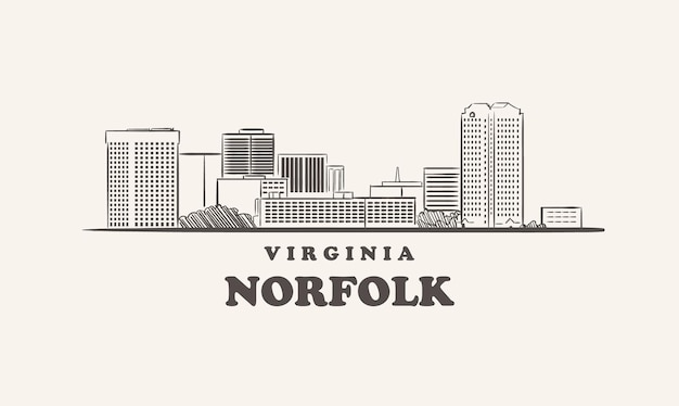 Norfolk skyline virginia rysowane szkic