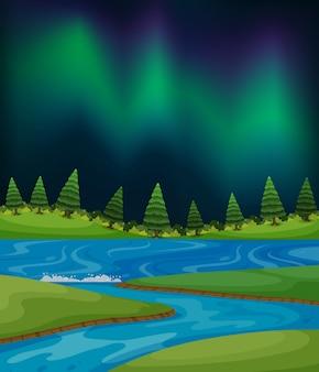 Northern light piec w lesie