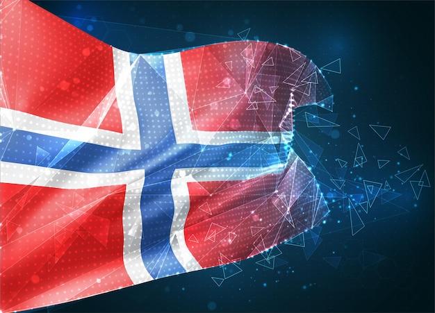 Norwegia, flaga wektorowa, wirtualny abstrakcyjny obiekt 3d z trójkątnych wielokątów na niebieskim tle