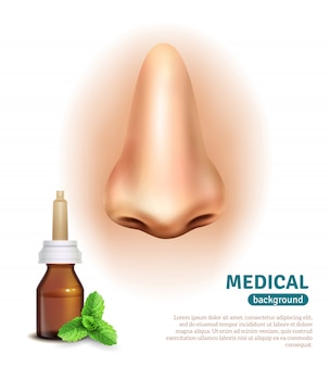 Nose spray bottle medical background poster