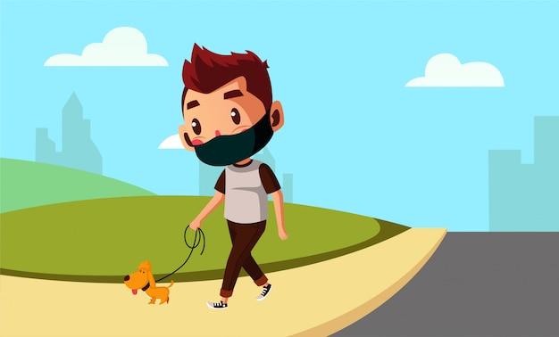 Nosić maskę człowieka idzie z psem na nowy normalny