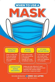 Nosić plakat z maską w stylu płaskiej konstrukcji