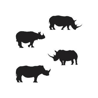 Nosorożca sylwetka zestaw symboli nosorożca