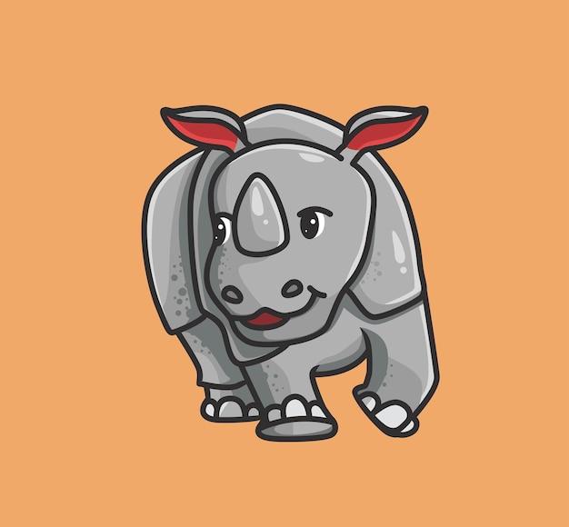 Nosorożec ładny spaceru. koncepcja kreskówka natura zwierząt ilustracja na białym tle. płaski styl nadaje się do naklejki icon design premium logo vector. postać maskotki