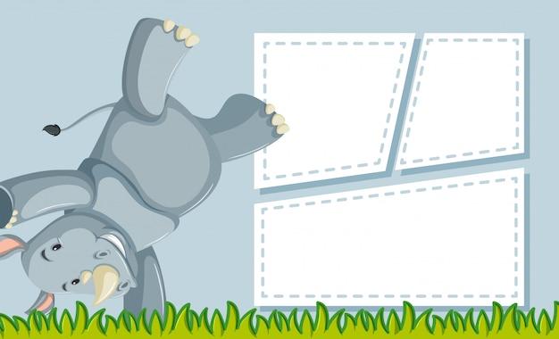 Nosorożec na szablonie notatki
