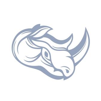 Nosorożec, zarys głowy, element logo na białym