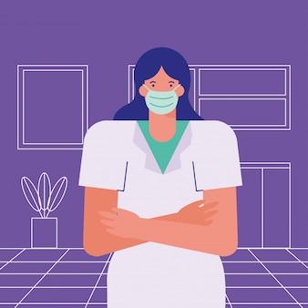 Noszenie maski medycznej profesjonalny chirurg kobieta