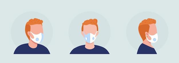 Noszenie respiratora z oddychającym otworem półpłaskim kolorowym zestawem awatarów;