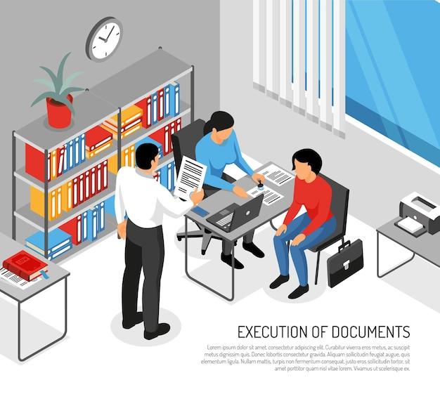 Notariusz i klienci podczas wykonywania dokumentów w izometrycznym wnętrzu biura