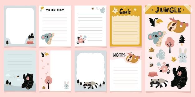 Notatki i karty w notatniku happy junggle cute animals