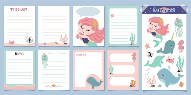 Notatki i karty w notatniku śliczna syrenka z przyjaciółmi na morzach