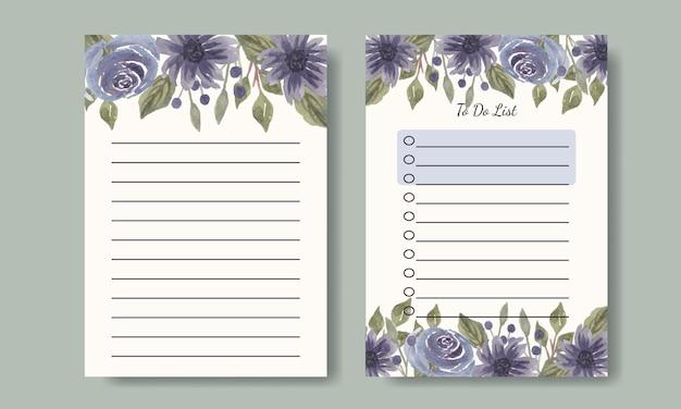Notatki i projekt szablonu listy rzeczy do zrobienia z akwarelowym fioletowym tłem kwiatowym do druku