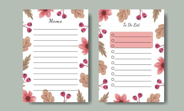 Notatki i szablon listy rzeczy do zrobienia z ręcznie malowanymi akwarelowymi różowymi kwiatami do wydrukowania