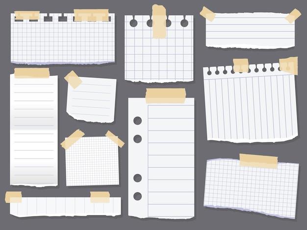 Notatki liniowe. kawałki papieru w linie klejone taśmą scotch. skrawek papieru do wiadomości z przypomnieniem. ilustracja