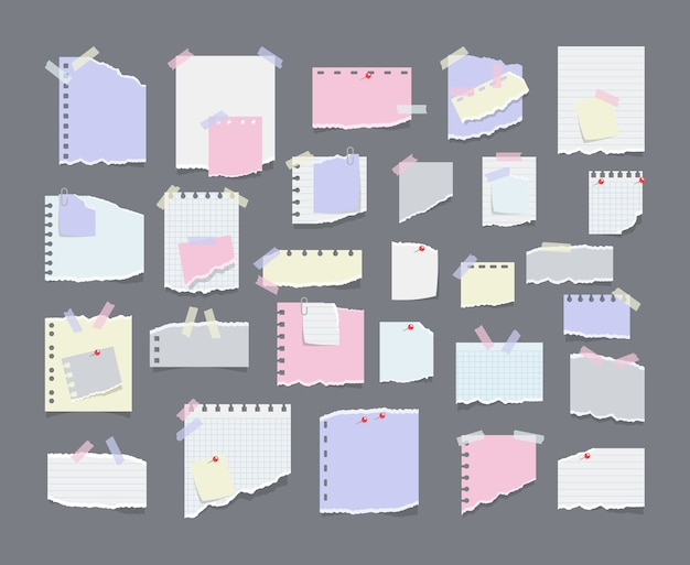 Notatki papierowe na naklejkach, notesach i notatkach podarte arkusze papieru. pusta notatka z przypomnieniem o spotkaniu, lista zadań do zrobienia i ogłoszenie biurowe lub tablica informacyjna. przypomnienie o informacjach.