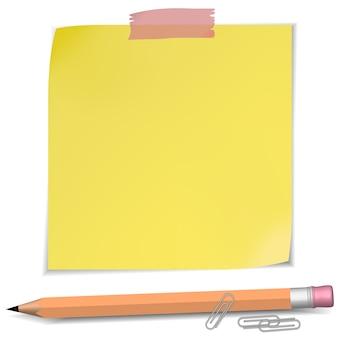 Notatki samoprzylepne z pinezką i ołówkiem