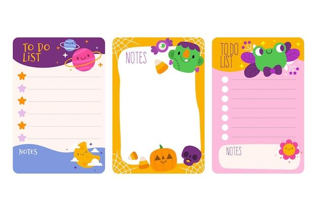 Notatki z notatnika i kolekcja kart