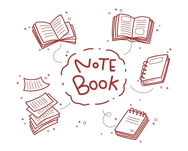 Notatnik doodle ręcznie rysowane ilustracja kreskówka sztuki