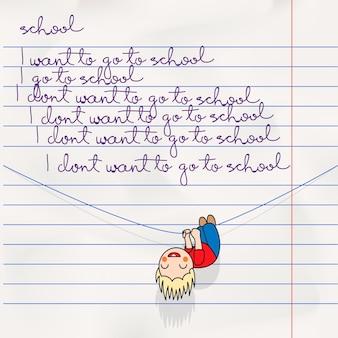 Notatnik gryzmoły strona z napisem z powrotem do szkoły i kreskówka chłopiec grafika wektorowa