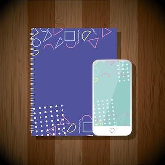 Notatnik i telefon komórkowy stataionary firm szablon kolor