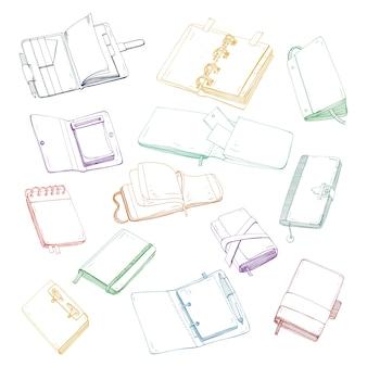 Notatnik, notatnik, planner, organizer, szkicownik ręcznie rysowane zestaw. zbiór kolorowych ilustracji.