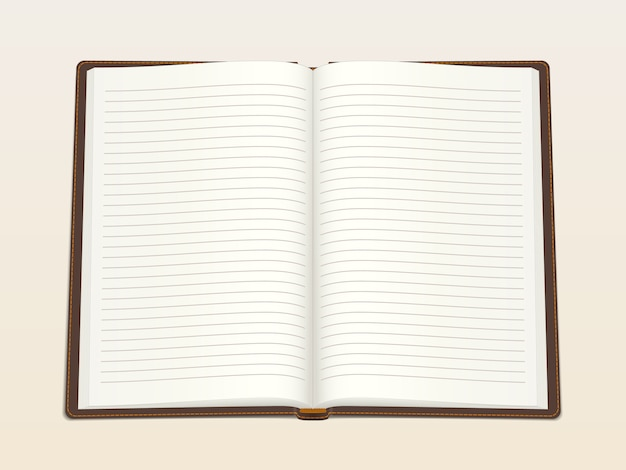 Notatnik, otwarty w środku. realistyczna ilustracja wektorowa.