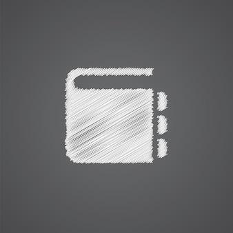 Notatnik szkic logo doodle ikona na białym tle na ciemnym tle