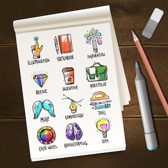 Notatnik z kreatywnymi nakreśleniami procesu