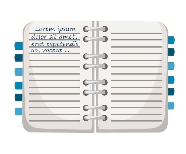 Notatnik z zakładkami. makieta notatnika z niebieskim szablonem tekstowym. płaskie ilustracja na białym tle. ikona kolorowe materiały biurowe.