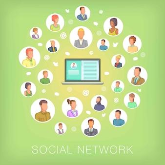 Notebook koncepcja sieci społecznej, stylu cartoon