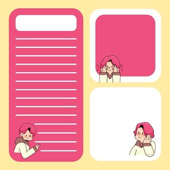 Notes słodki chłopiec projektuje z powrotem do szkoły, aby zrobić listę codziennych notatek