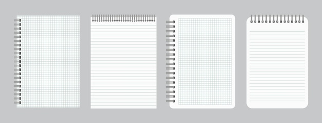Notesy z pustym papierem w linie i kratkę ze spiralą żelazną. zestaw czterech arkuszy zeszytów. ilustracja wektorowa