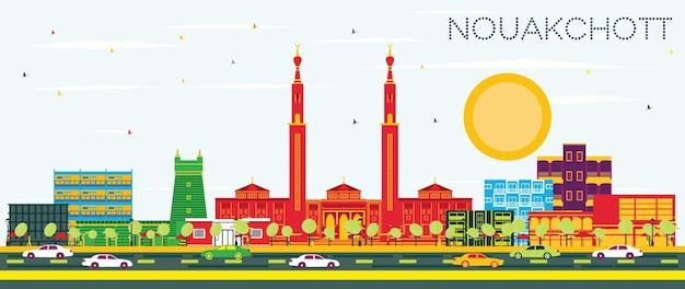 Nouakchott mauretania city skyline z kolorowymi budynkami i błękitnym niebem. ilustracja