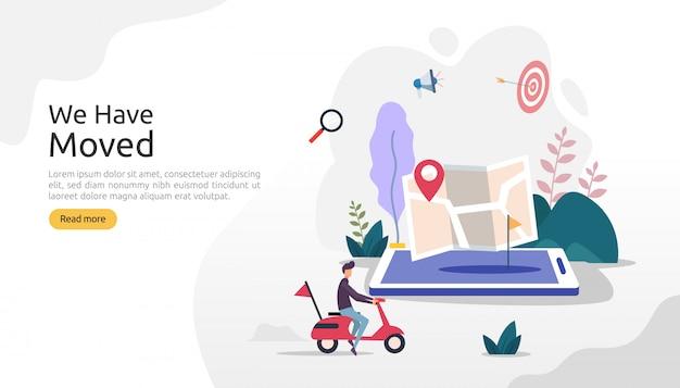 Nowa firma ogłoszenia o lokalizacji lub zmiana koncepcji adresu biura. przenieśliśmy ilustracje szablonu strony docelowej, aplikacji mobilnej, plakatu, banera, ulotki, interfejsu użytkownika, sieci i tła
