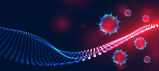Nowa infekcja koronawirusem covid-19 rozprzestrzeniła projekt transparentu