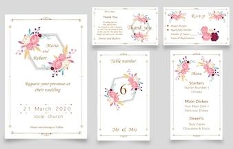 Nowa karta zaproszenie na ślub nowoczesny akwarela