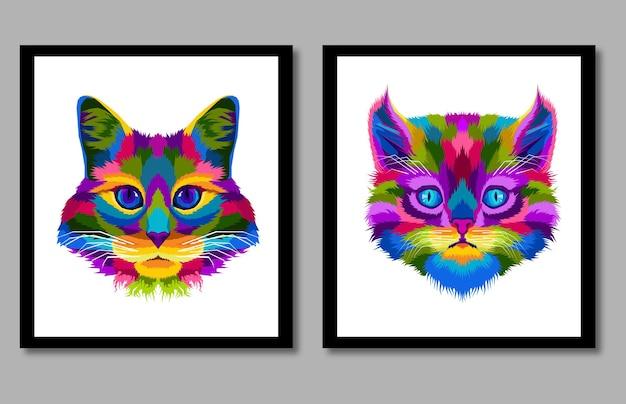 Nowa kolekcja głowa kota pop-art portret w ramce